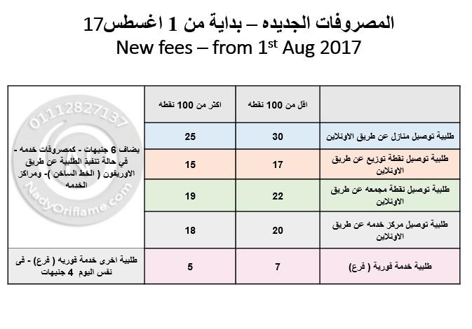 مصروفات الخدمة والتوصيل في اوريفليم بداية من اغسطس 2017